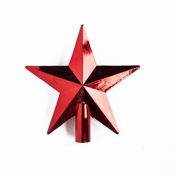 50 stuks Kerstster piek 20 cm Diameter Rood glans  Per omdoos