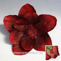48 stuks per omdoos -  Kerstbloem Magnolia Glitter -  Rood Per omdoos