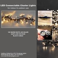 Clusterlights  LED 180 lamps 3 meter.Koppelbaar. IP 44. per stuk/ piece