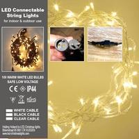 Stringlights LED 100 lamps 8 meter.Koppelbaar. IP 44 per stuk/ piece