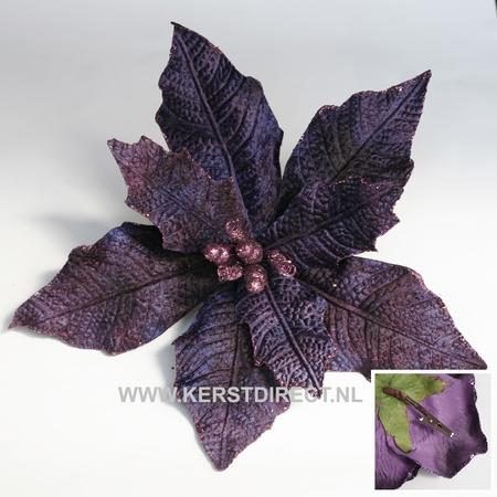 60 stuks per omdoos Kerstbloem Poinsettia Glitter -  Purple  Per omdoos