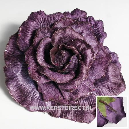 Artificial christmas Rose Purple  Per omdoos