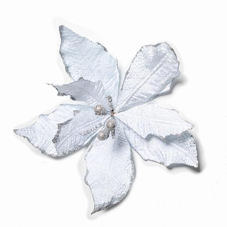 60 stuks per omdoos Kerstbloem Pontsettia Glitter -  Silver  Per omdoos