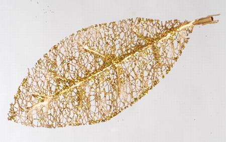 36 stuks glitterbladeren goud  Per omdoos