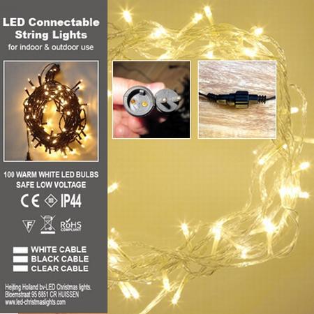 Lichterkette 100 LED Warm Weiss. Transparanten Kabel PVC  per stuk/ piece