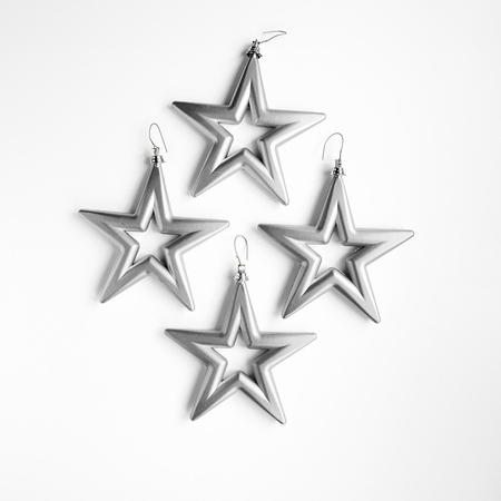 18 set a 4 st. Open Star - 14 cm Zilver  Per omdoos