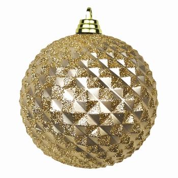 Diamant kerstballen roze goud. 8 cm Doos a 160 st  Per omdoos