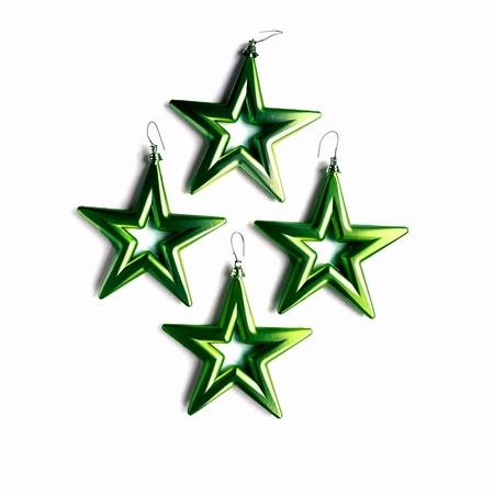 18 set a 4 st. Open Star - 14 cm Antiek Groen  Per omdoos