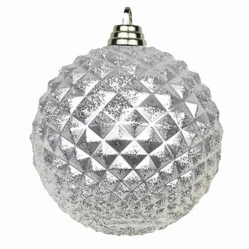 Diamant kerstballen Zilver. 8 cm Doos a 160 st  Per omdoos