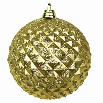 Diamant kerstballen Goud. 8 cm Doos a 160 st  Per omdoos