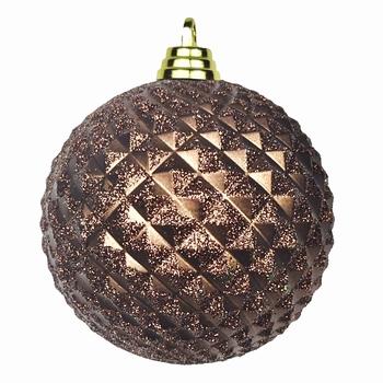 Diamant kerstballen Amber bruin. 8 cm Doos a 160 st  Per omdoos