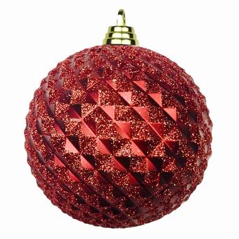Diamant kerstballen Rood. 8 cm Doos a 160 st  Per omdoos