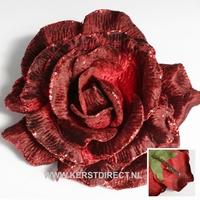 24 stuks per omdoos Kerstbloem Rose Glitter - Copper Per omdoos